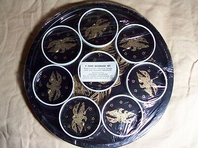 VINTAGE 9 Pc. TOLEWARE TRAY and COASTER SET NATIONAL TOLEWARE Barware Gameroom
