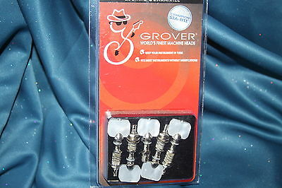 Grover Champion Sta-Tite 5 String Banjo Peg Set, Square Pearloid, Nickel, 886N