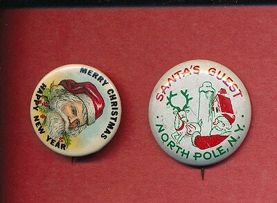 (2)-Santa Claus Pins Santa's Guest North Pole NY Merry Christmas Happy New Year