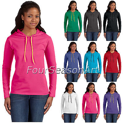 c11cce645ea4 Anvil Ladies' Lightweight Long Sleeve Hooded T-Shirt Womens S-2XL 887L