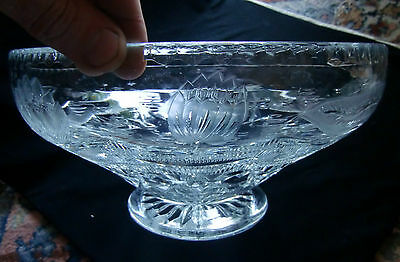 Huge Early 20th Century Intricate Lilly  Cut Pedestal Bowl 3.6 KG 28 cm diameter