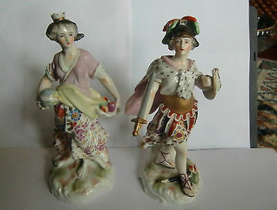 Two Late 19th Century Sitzendorf Figures 21 cm tall