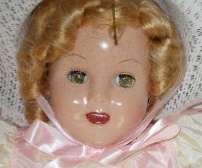 1989 Horsman Bright Star Vinyl Reproduction Shirley Doll in Bonnet #7163-4