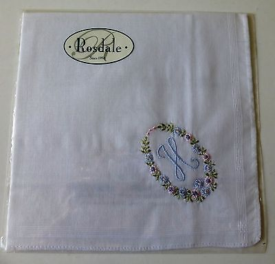 "Rosdale handkerchief embroidered with the letter ""H"""