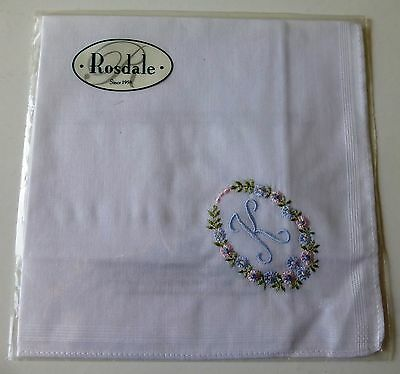 "Rosdale handkerchief embroidered with the letter ""K"""