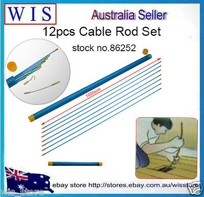 10m Φ 4mm Cable Access Kit 1M X 10 Electricians Puller Rods Wires Draw Push Pull
