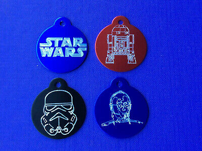 Star Wars R2D2 C3PO DARTH VADER STORM TROOPER Pet Dog ID Tag with Engraving