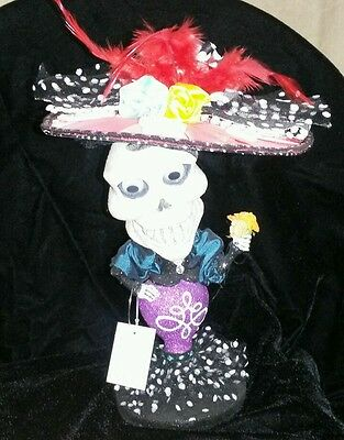 Katherines Collection Day Of The Dead Catrina Bobble Head Purple NWT