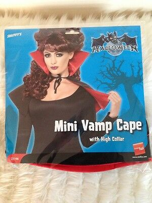 Halloween Mini Vampire Witch Cape Cloak With High Collar Fancy Dress Accessory