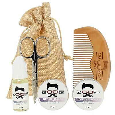 Mo Bro's Unscented Grooming Kit- Moustache Wax, Beard Balm, Oil, Comb, Gift Bag