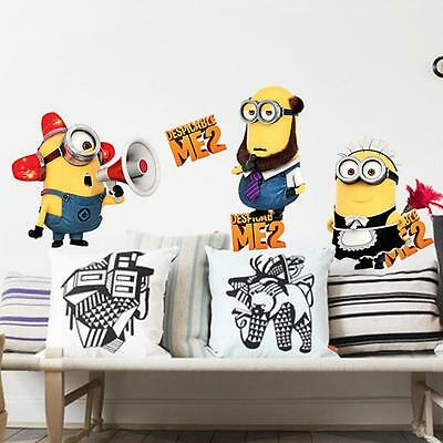 NEW Despicable Me 2 Minion Decal Removable Wall 3D Sticker Home Decor USA Seller