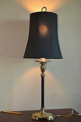 VINTAGE Brass and Black Enamel Candlestick Lamp with Black Silk (?) Shade