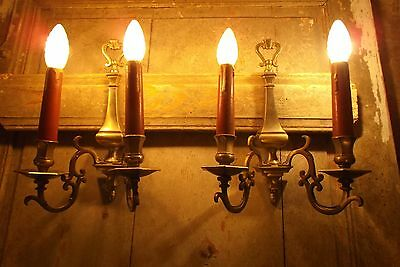 French a pair of fabulous antique brass/ bronze solid rare wonderful look