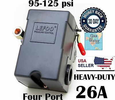 Air Pressure Switch Control for Compressor 95-125psi 4 FOUR PORT 26A HEAVY-DUTY