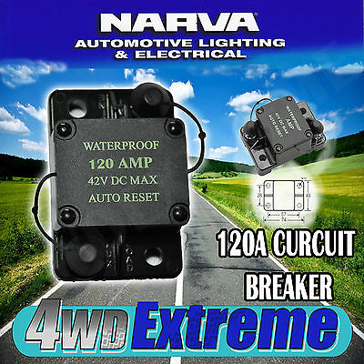Narva High Quality 120 Amp Auto Reset Circuit Breaker Waterproof 55956 Fuse