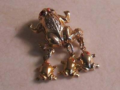 VTG Gold Frog Charm Brooch Medallion Lapel Pin Tie Prince Silver Ruby Enameled