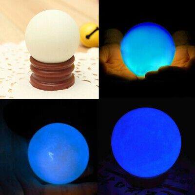 Delicate Glow In Dark Quartz Crystal Sphere Ball Blue Luminous 3.5cm 60g + BASE