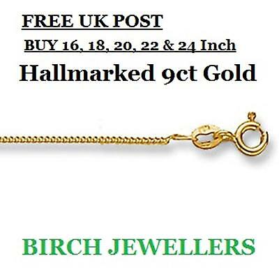 Solid 9ct Gold Curb Chain Necklace 1mm 16/18/20/22/24inches Hallmarked, Pendant