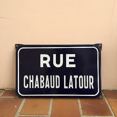 Old French Street Enameled Sign Plaque - latour