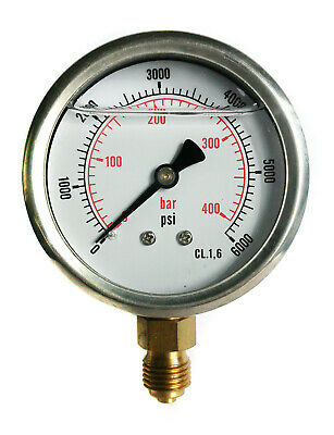 Hydraulic Pressure Gauge Glycerine Filled 0/6000 PSI 0/400 Bar 63mm Dial 1/4 BSP