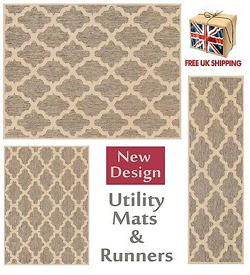 Trellis Flatweave Utility Mats Kitchen Rugs Hall Runners Grey Anti Slip Gel
