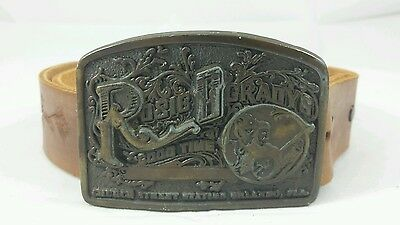 Vintage Rosie O'Grady's Good Time Emporium Belt Buckle with Tooled Leather Belt
