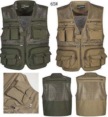 Fashion Men Outdoor Multi-pocket Fishing Hiking Photography Mesh Vest Waistcoat
