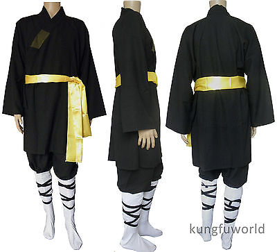 Black Color Shaolin Monk Robe Kung fu Uniform Martial arts Tai Chi Suit