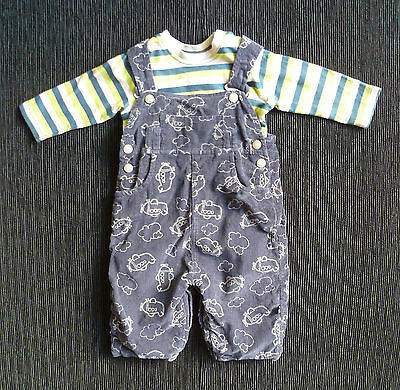 Baby clothes BOY 0-3m navy cord dungarees/stripe long sl top 2nd item post-free!