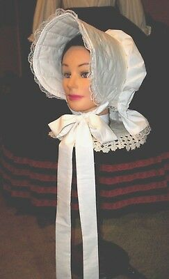 Civil War Dress Victorian Lovely Lady's Ivory 100% Cotton Slat~Sun Bonnet