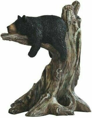 "Lazy Black Bear Sleeping on Tree Wildlife Decorative Figurine Statue Animal 9""H"