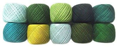 LOT 10 SHADES of GREEN 6 Ply Strand Cotton Thread Yarn Cross Stitch Embroidery