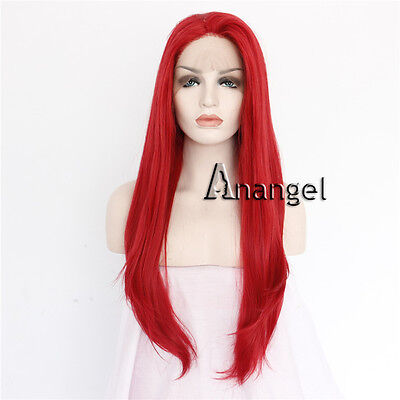 Red Lace Front Wig Women's Wigs Long Straight Heat Resistant Synthetic Hair