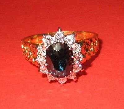 BEAUTIFUL SECONDHAND 18ct YELLOW GOLD SAPPHIRE AND DIAMONDS CLUSTER RING SIZE N