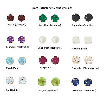 9ct Gold 5mm Cz Crystal Birthstone Stud Earrings Studs Birthday Giftbox