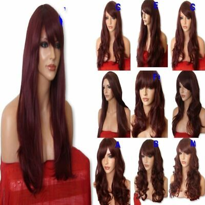 RED Brown Wig Natural Long Curly Straight Wavy Ladies Wig Fancy dresss Party Wig