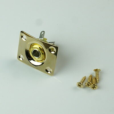 Universal Electric Guitar Output Jack Plate Socket ,Square /Gold plated