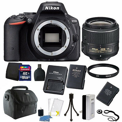Nikon D5500 DSLR Camera + 18-55mm VR Lens + Two Batteries and Charger + 16GB Kit