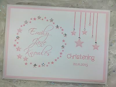 Personalised Christening Baptism Naming Day Handmade Guest Book Baby Shower Star
