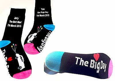 The Big Day Wedding Car Design Classic Black Socks WITH Your Personalised Text