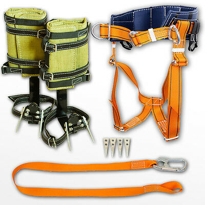 Tree Climbing Spikes, Adjustable Climbing Harness 5' safety lanyard tree surgeon