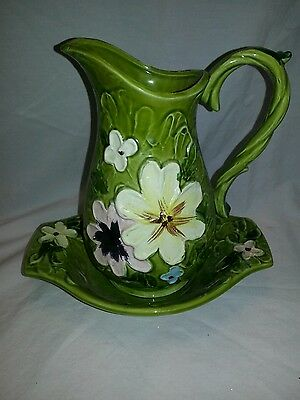 Vintage Napcoware Japan water pitcher with underplate
