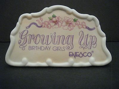 Vtg 1990 Enesco Growing Up Birthday Girls Place Card