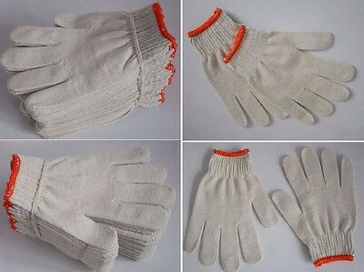 72 Pairs /144Pcs White Red Work Poly/cotton General Purpose Elastic Yarn Gloves