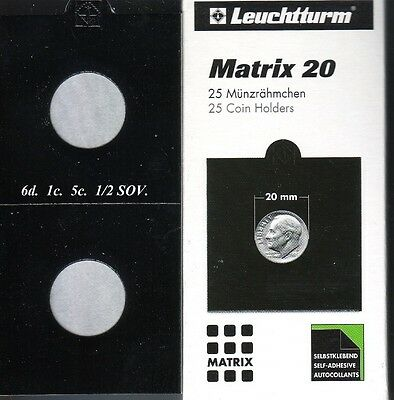 25 BLACK 20 mm  MATRIX LIGHTHOUSE  SELF ADHESIVE 2 x 2 COIN HOLDERS