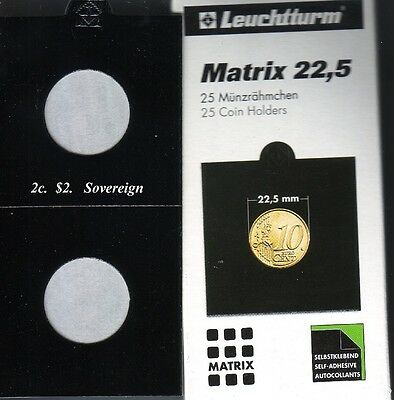 25 BLACK 22.5 mm MATRIX LIGHTHOUSE  SELF ADHESIVE 2 x 2 COIN HOLDERS