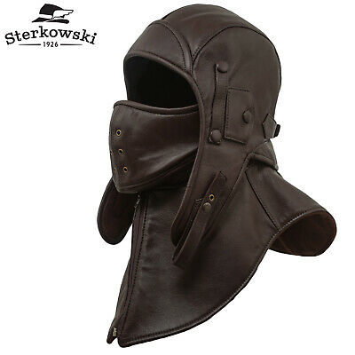 Genuine Leather Aviator Cap with Mask and Collar   Bomber Hat Trapper Storm b93591a3955