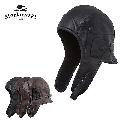 Sterkowski SIBERIA Leather Aviator Cap with Mask and Collar Bomber Trooper Storm