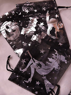 25 Halloween Party Black Silver Witch Pumpkin Cat Bat Broomstick Organza Bags