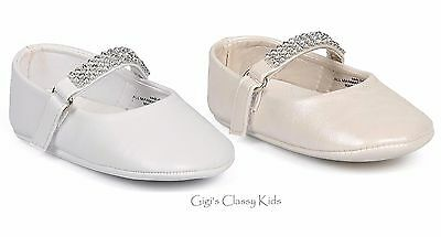 New Baby Girls White Ivory Dress Crib Shoes Baptism Gift Rhinestones Dedication
